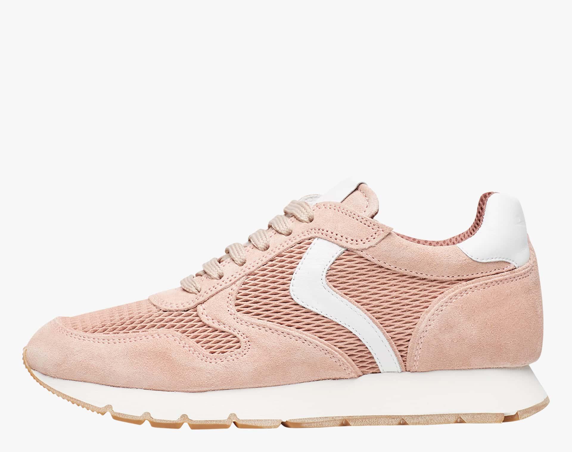 Sneaker in suede con inserto in tessuto tecnico Rosa-JULIA MESH