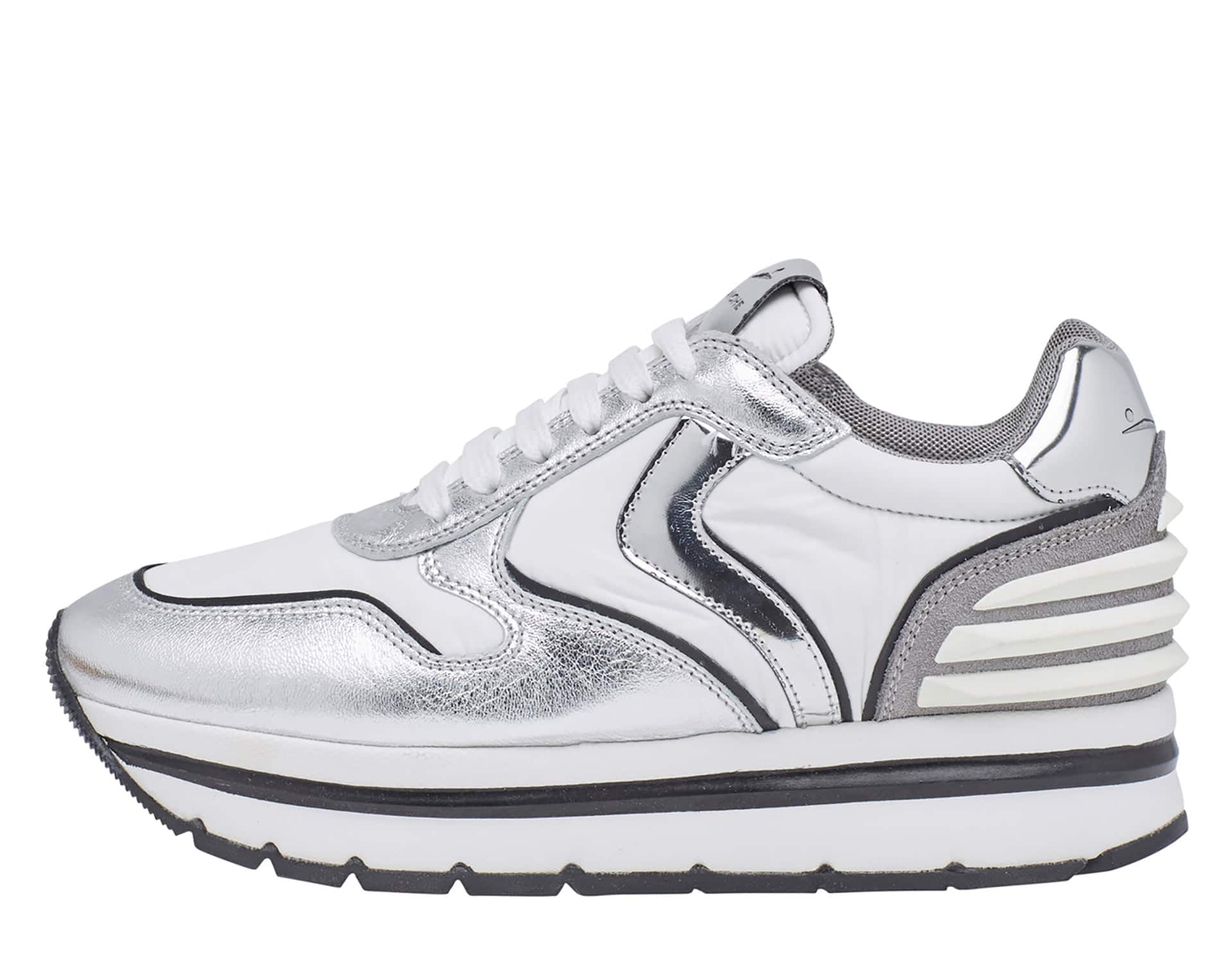 MAY POWER - Sneakers in pelle e tessuto - Bianco/Argento