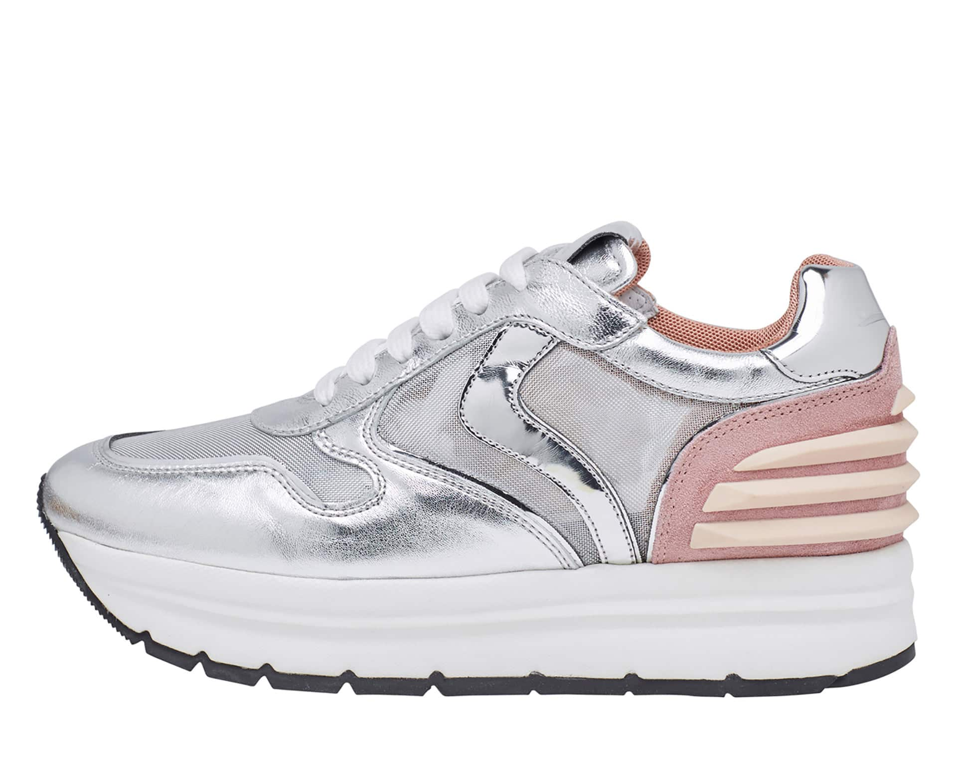 MAY POWER MESH - Sneakers in pelle e tessuto - Rosa/Argento