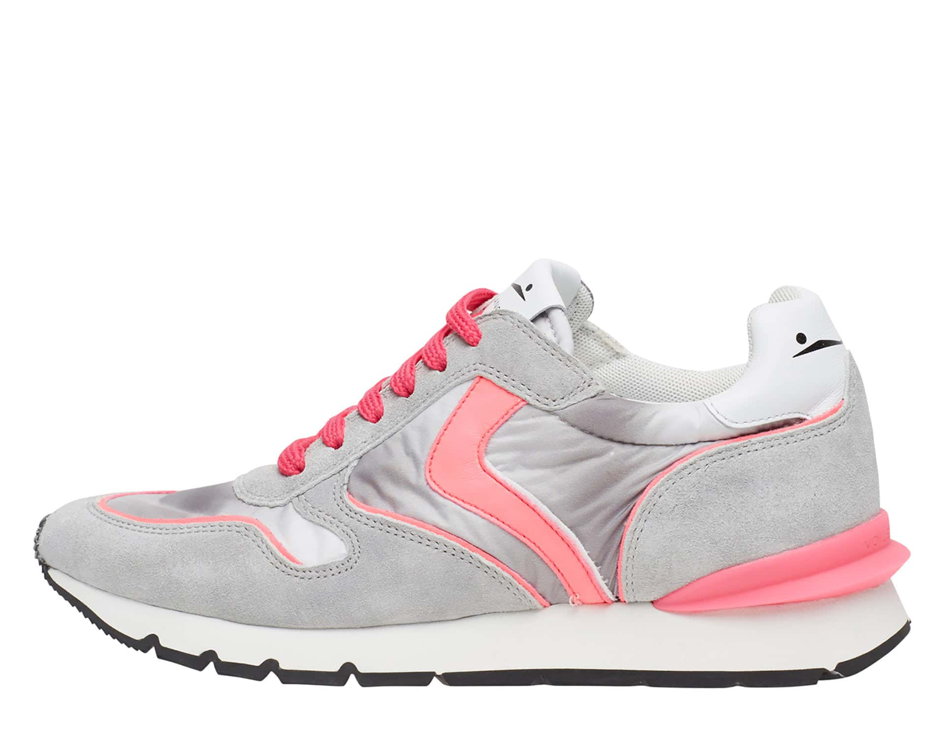 JULIA RACE - Sneakers in pelle e nylon - Giaccio/Rosa Fluo