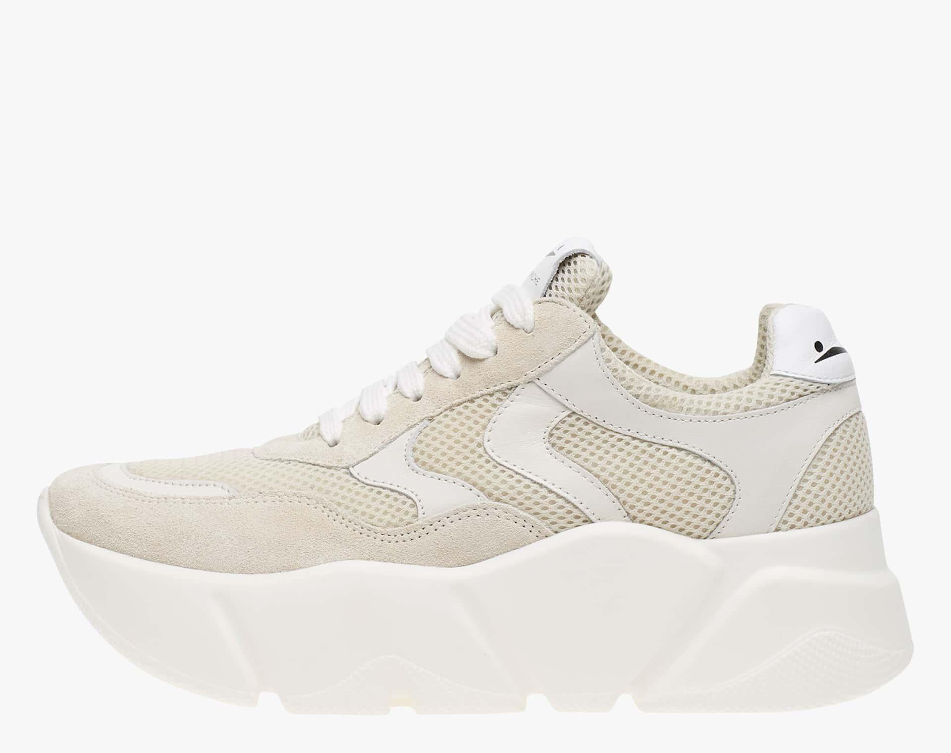 MONSTER - Sneaker con maxi suola e inserti in rete - Panna