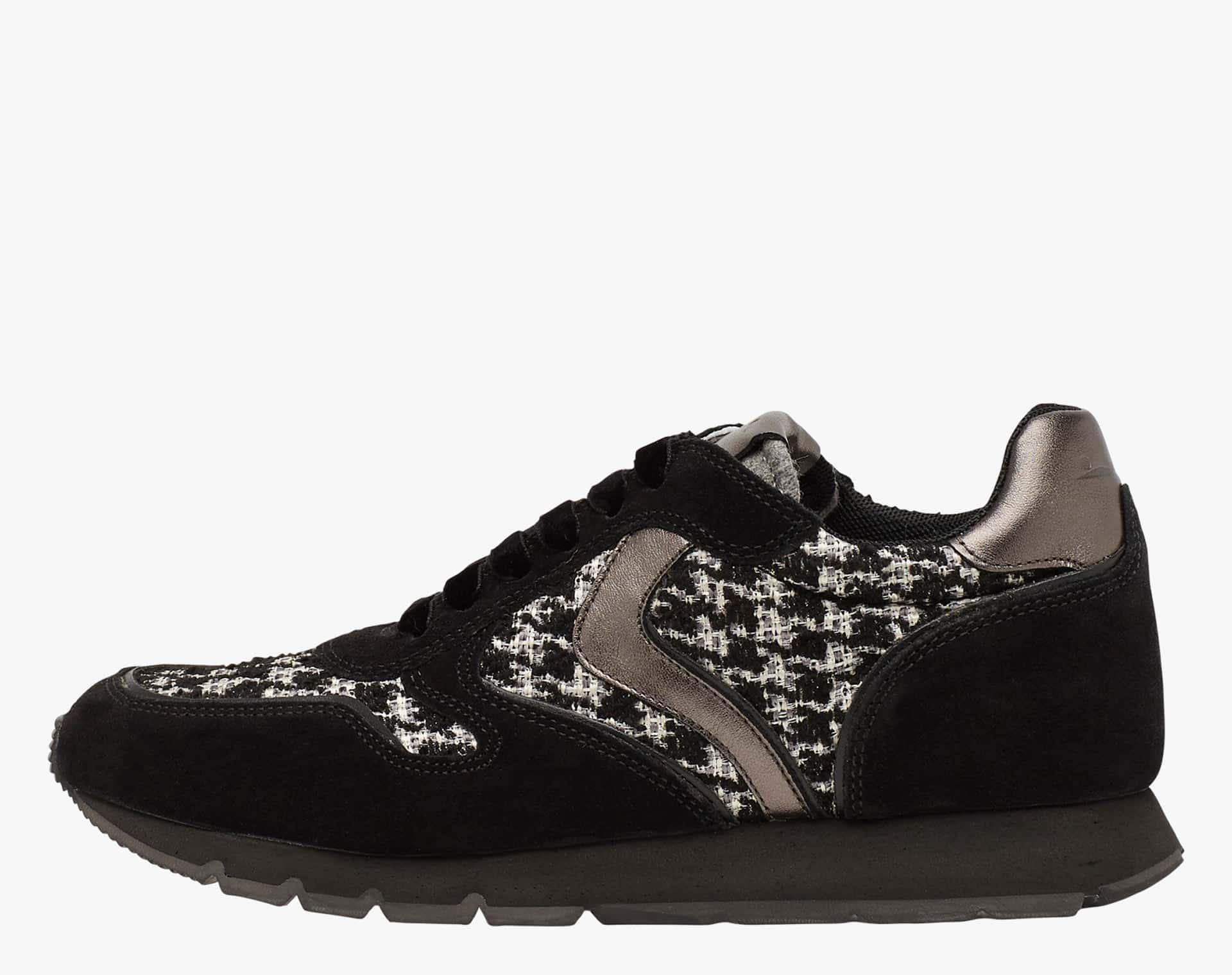 JULIA - Sneakers in pelle e tessuto - Nero