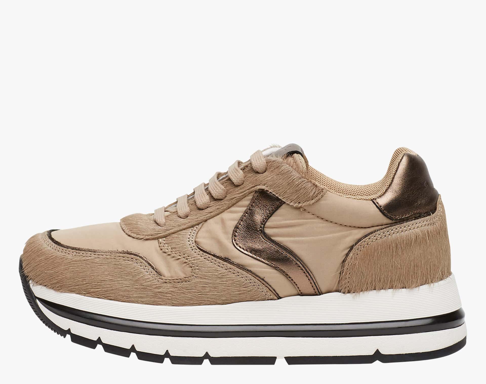 APRILLE - Sneakers in pelle e laminato - Bronzo