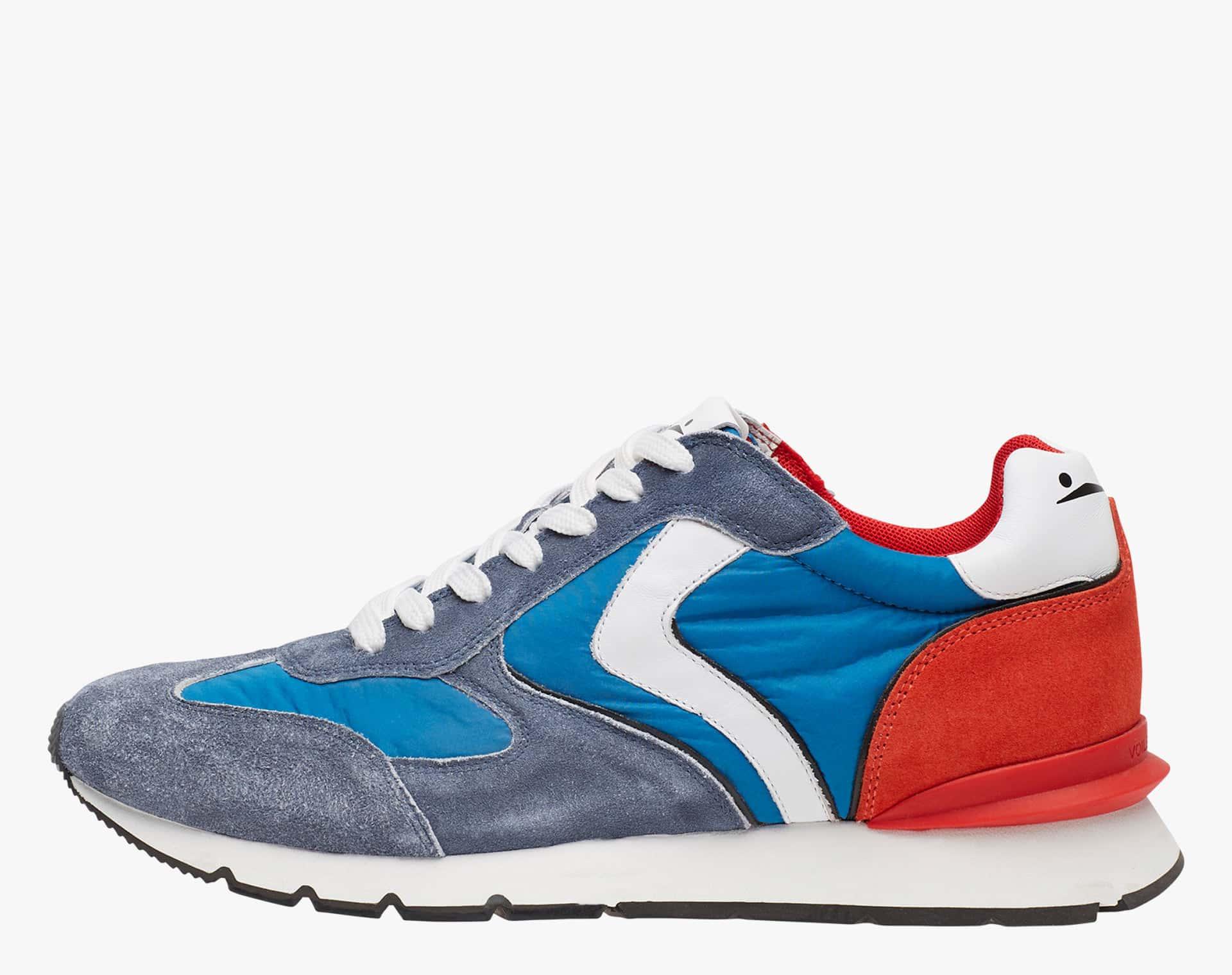 NEW LIAM RACE - Sneaker in vitello velour e tessuto tecnico - Blu/Rosso