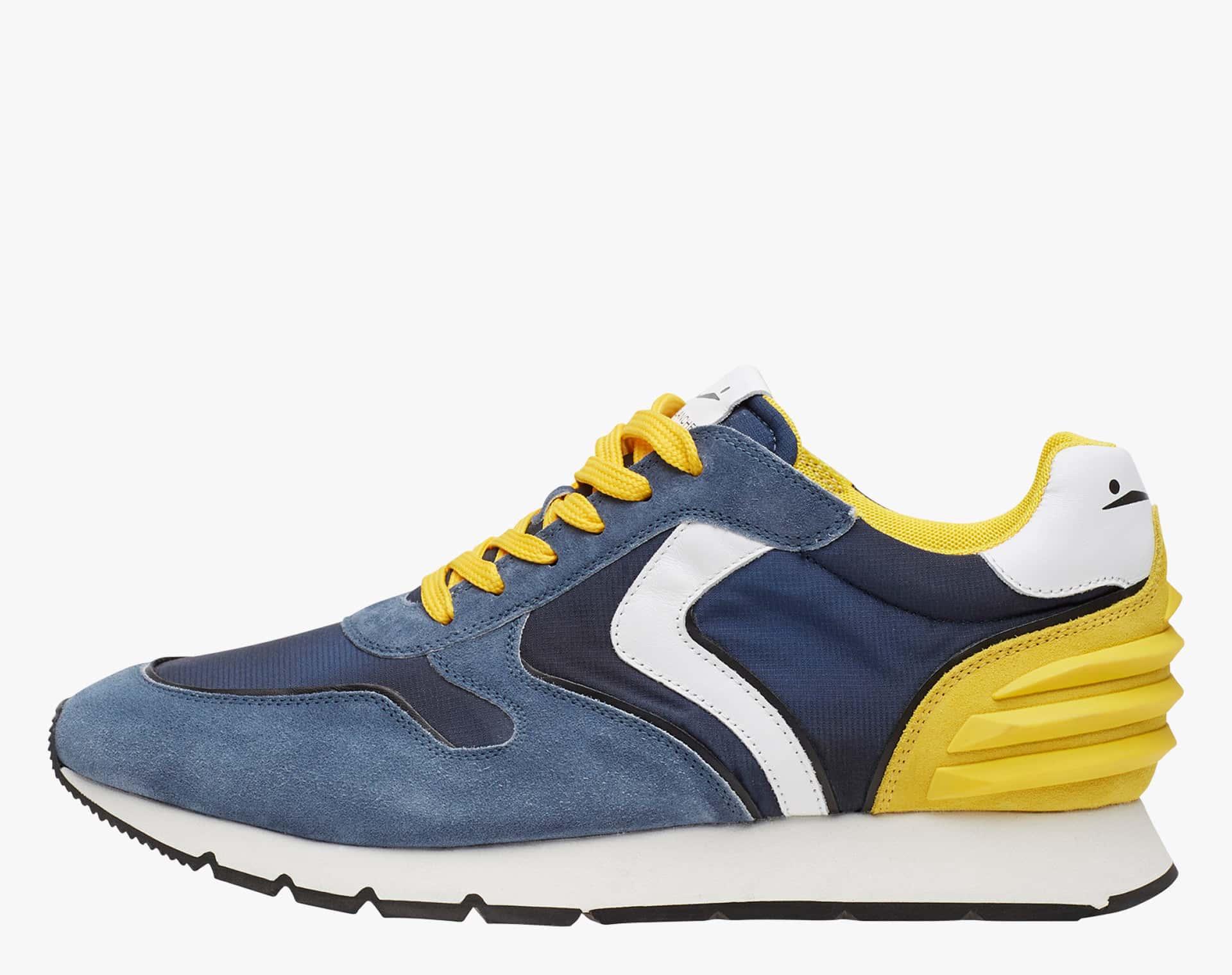 LIAM POWER - Sneaker in suede e tessuto tecnico - Blu/Giallo