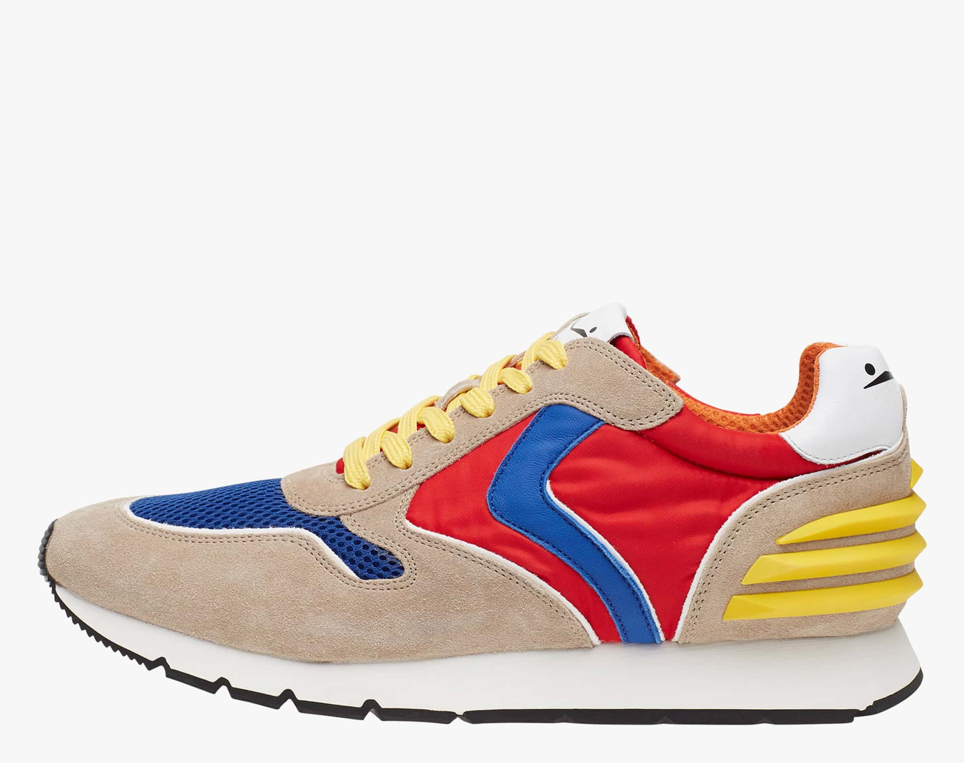 LIAM POWER - Sneaker in suede e tessuto tecnico - Sabbia/Blu/Rosso