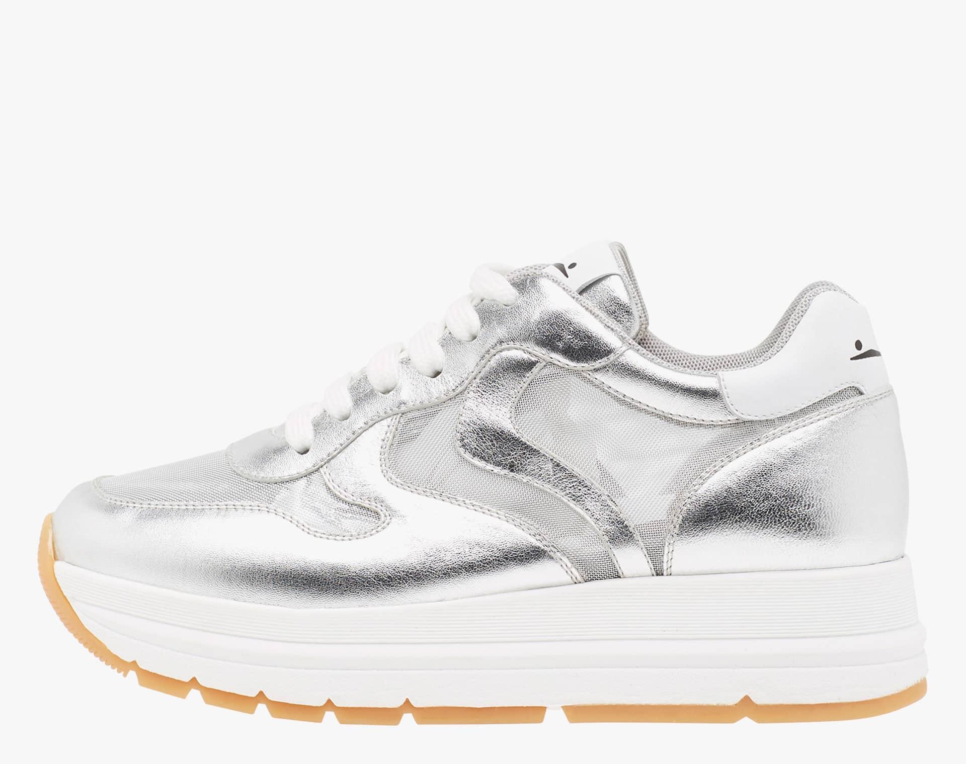 MARAN MESH - Sneaker in nappa laminata e micro rete - Argento
