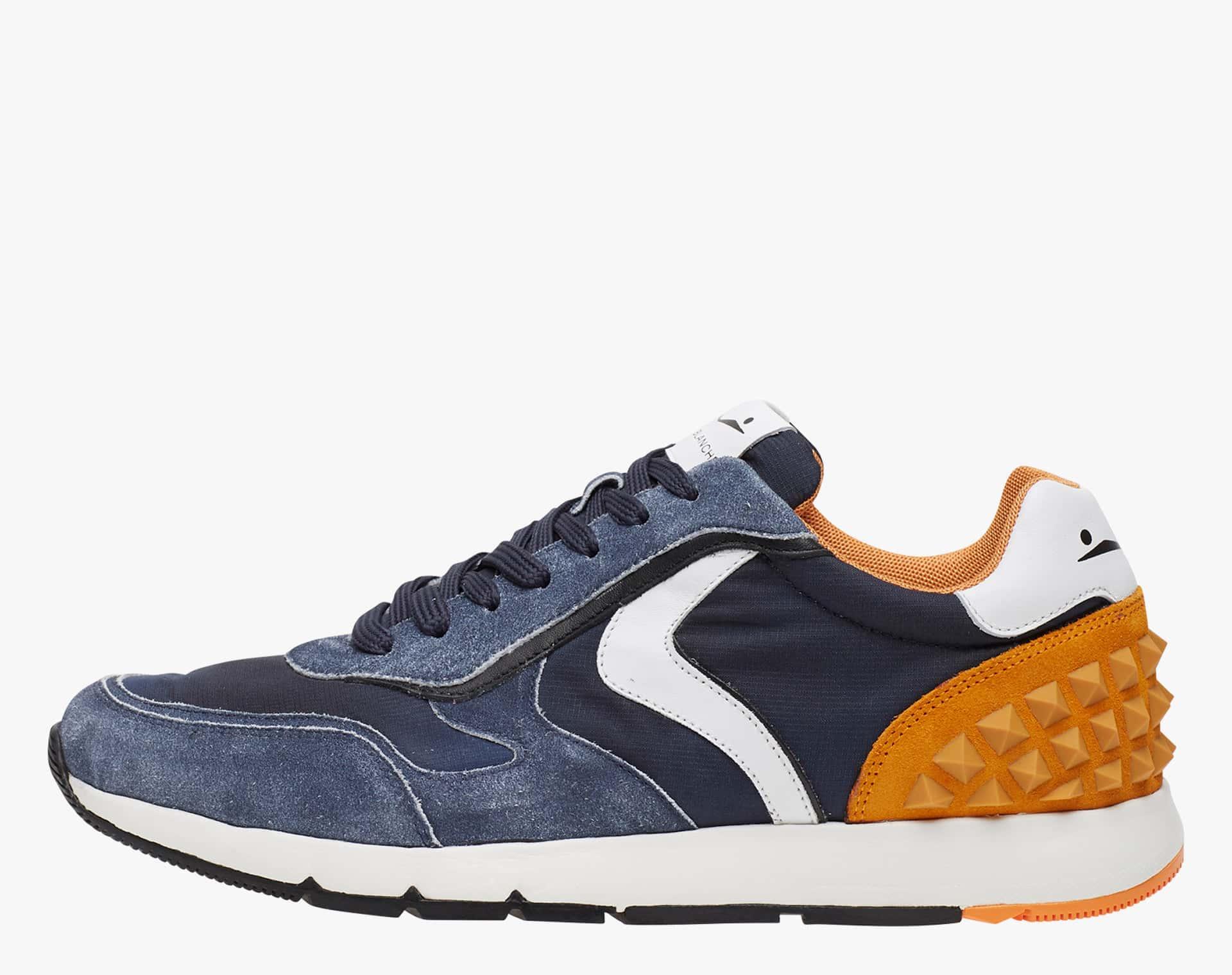 REUBENT STUDS - Sneaker in suede e tessuto tecnico con studs   - Blu