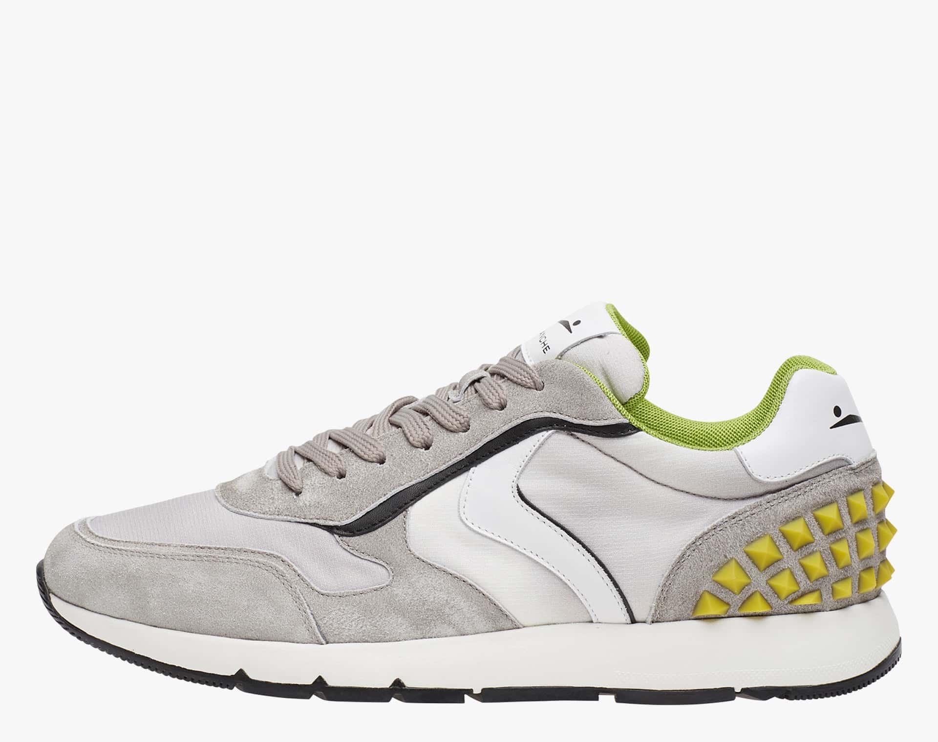 REUBENT STUDS - Sneaker in suede e tessuto tecnico con studs   - Grigio