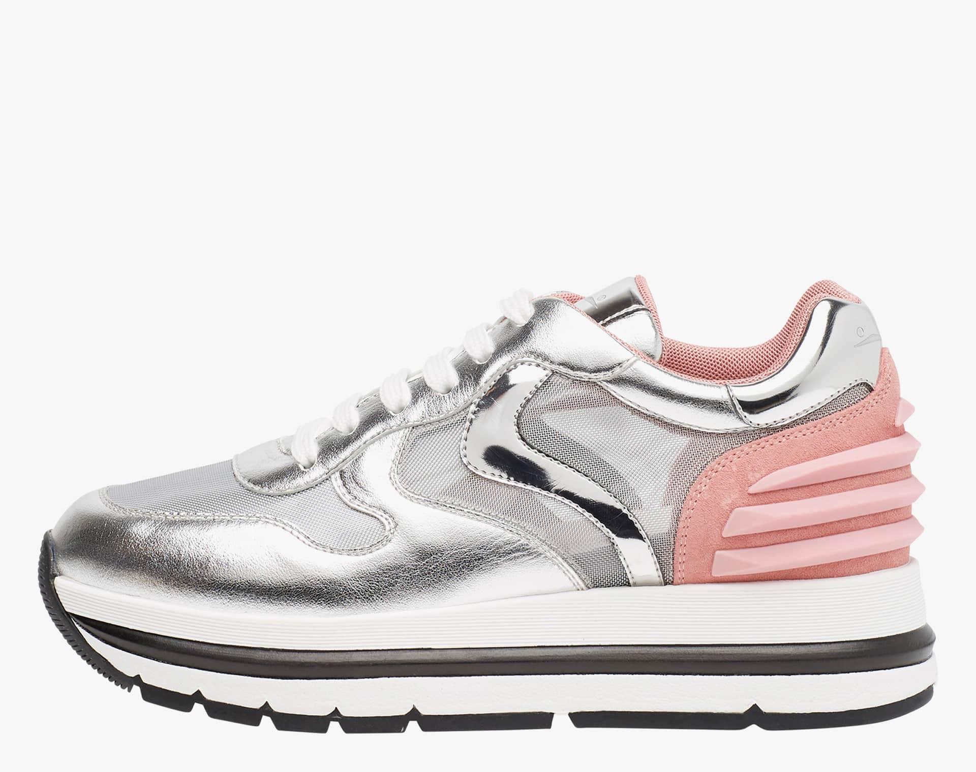 MARAN POWER MESH - Sneaker in nappa laminata e micro rete - Argento/Rosa