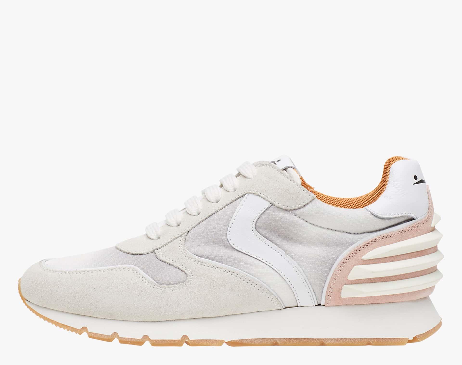 JULIA POWER - Sneaker in suede e tessuto tecnico - Bianco/Grigio/Rosa