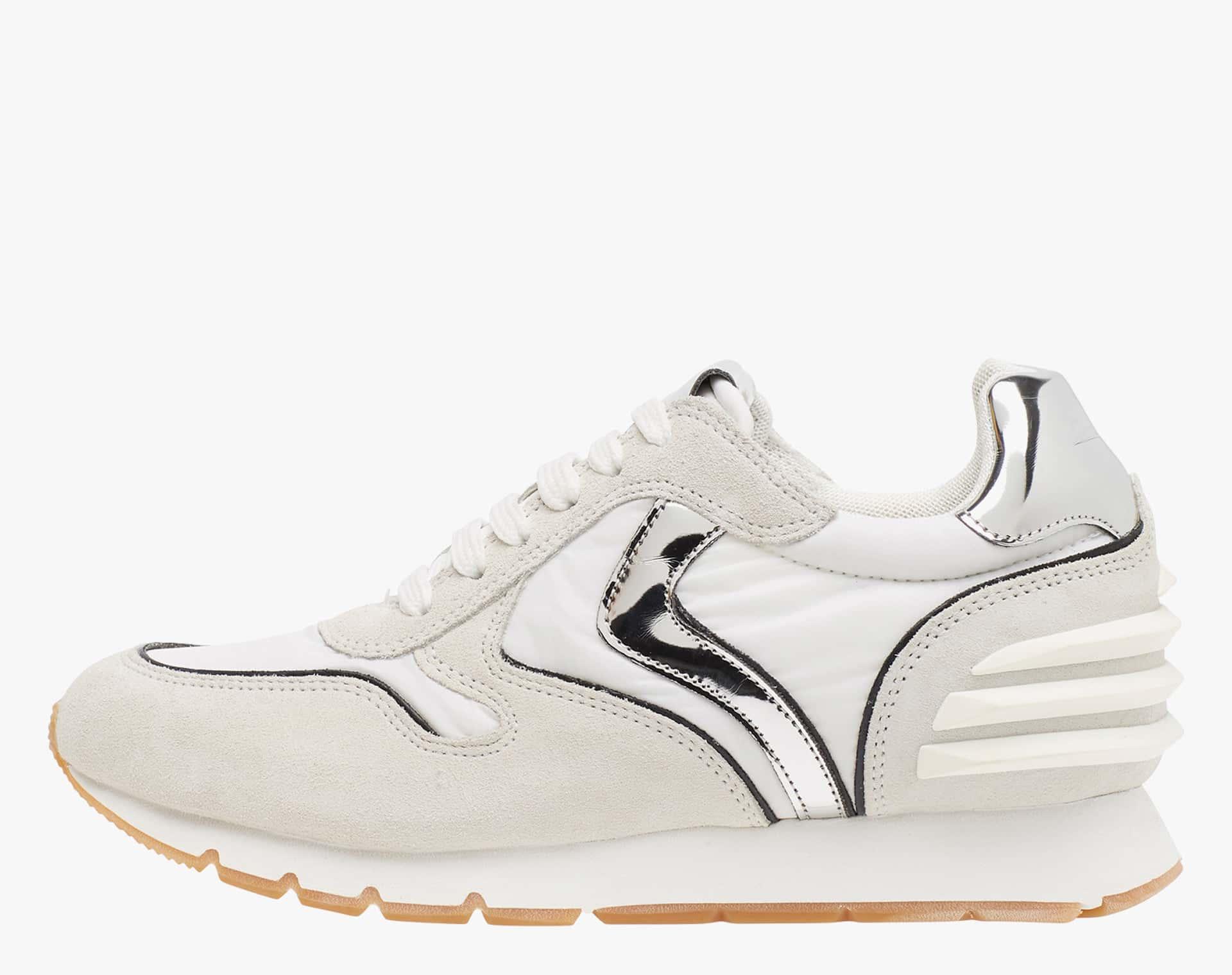 JULIA SLAM POWER - Sneaker in suede e tessuto tecnico - Bianco/Argento
