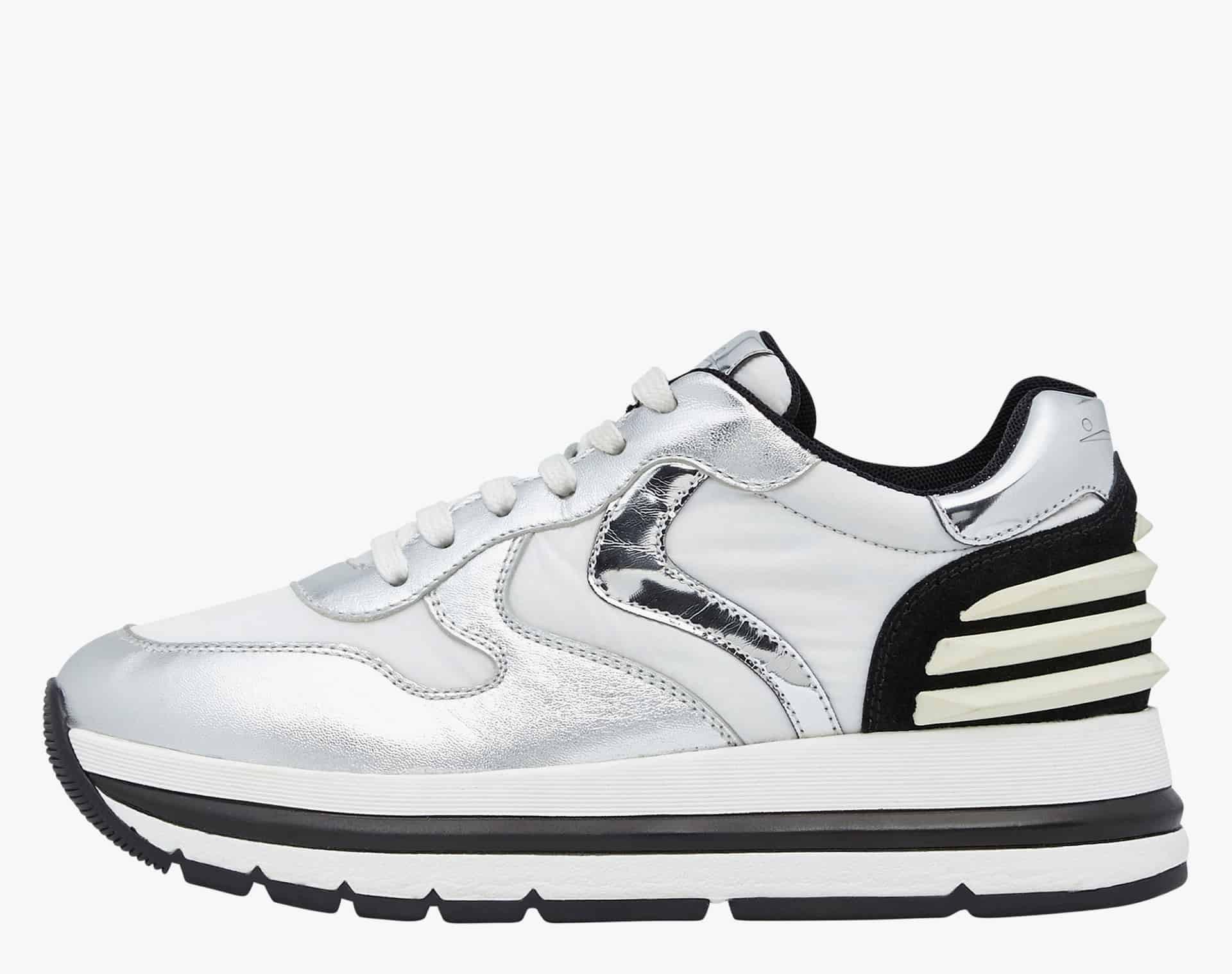 MARAN POWER - Sneaker in nappa laminata e tessuto tecnico - Argento