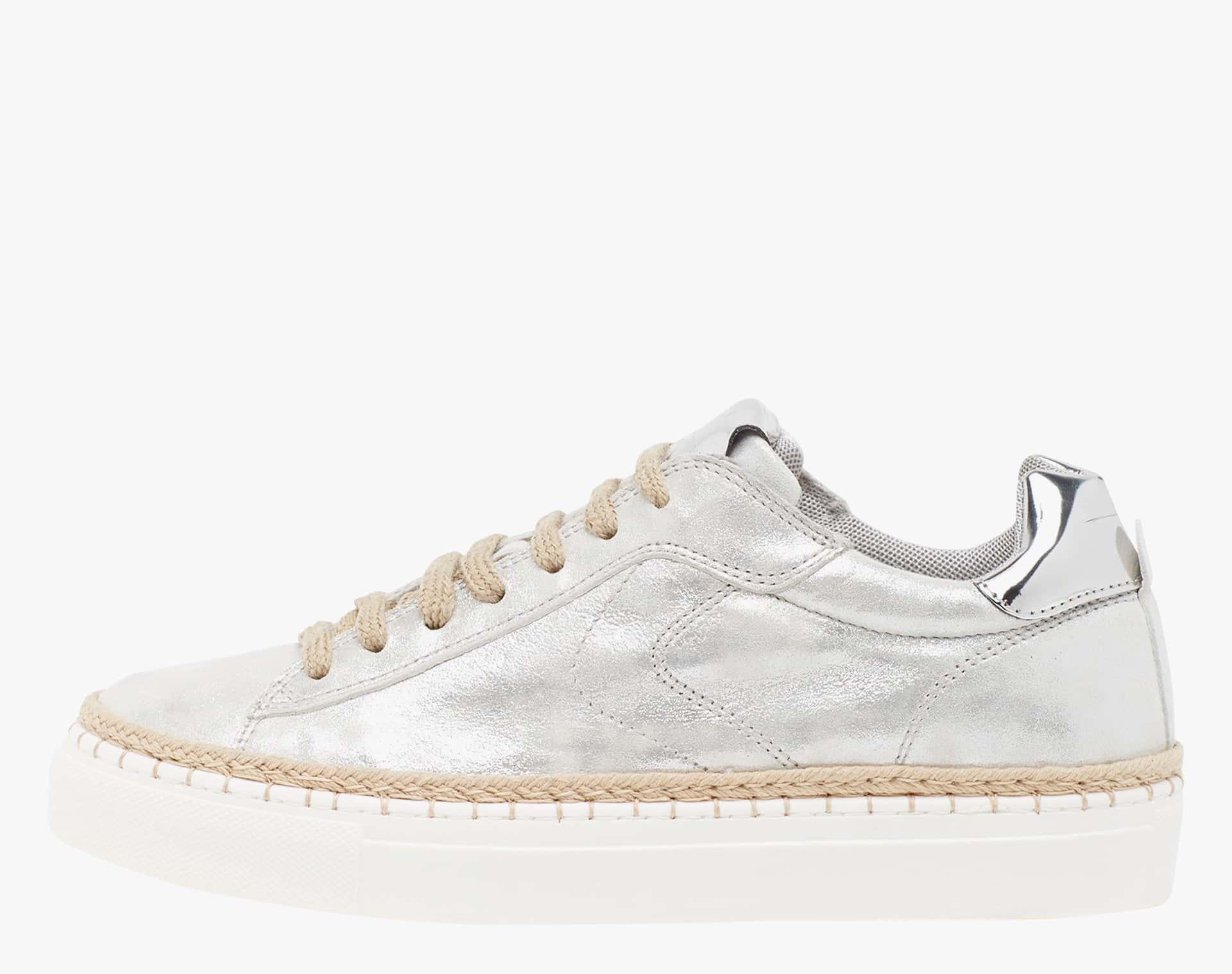 PANAREA - Sneaker in pelle laminata e dettagli in juta - Argento