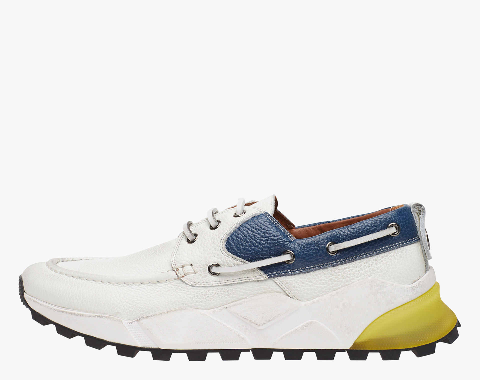 EXTREEMER - Sneaker sailor in vitello bottalato - Bianco/Blu/ocra
