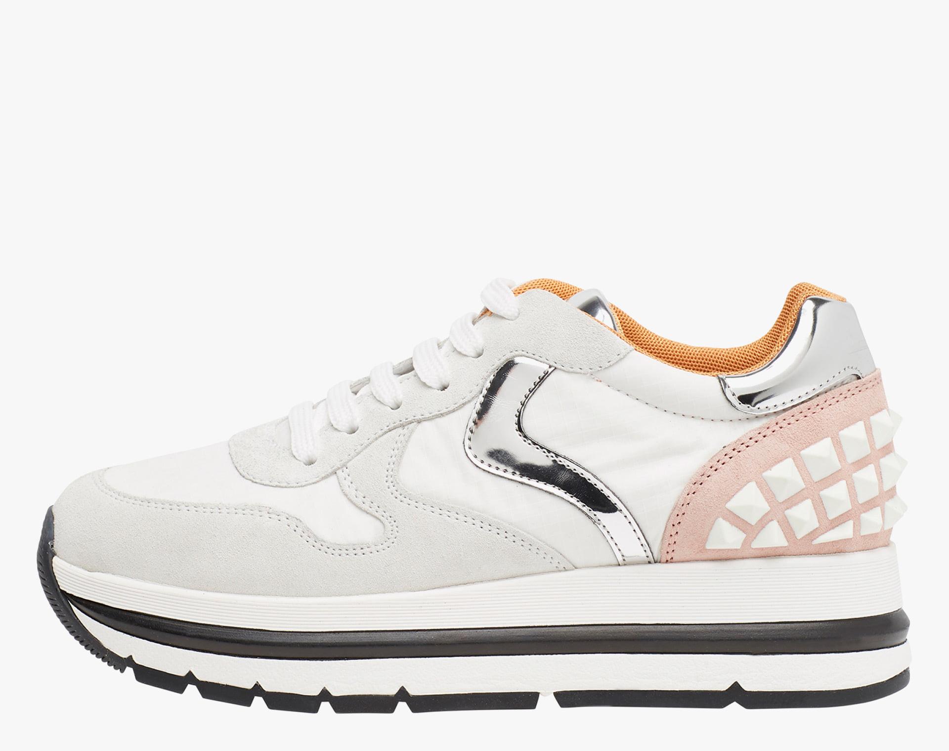 MARAN STUDS - Sneaker in suede e tessuto tecnico  - Bianco/Argento/Rosa
