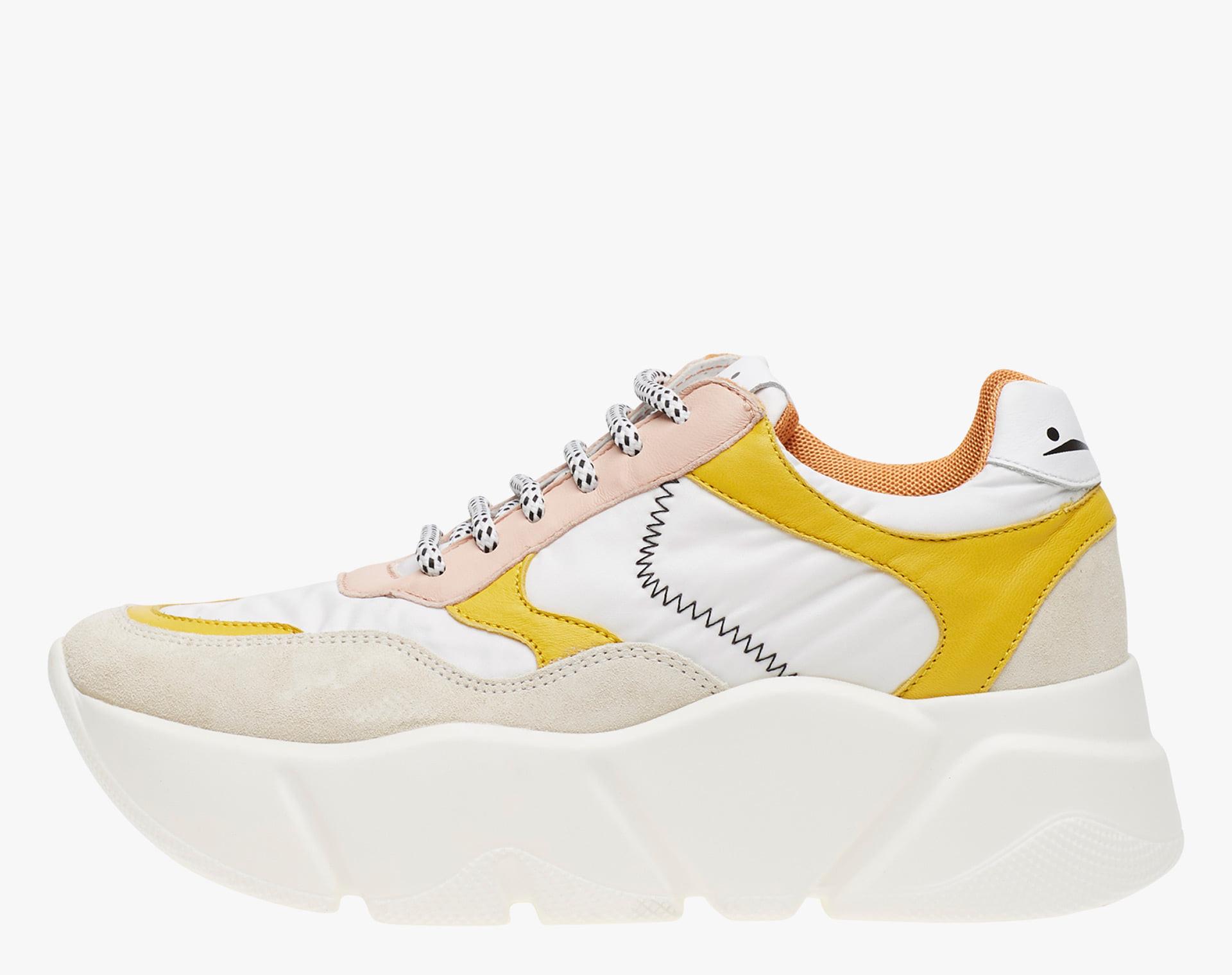 CREEP - Sneaker in suede e tessuto tecnico - Bianco-Giallo-Cipria
