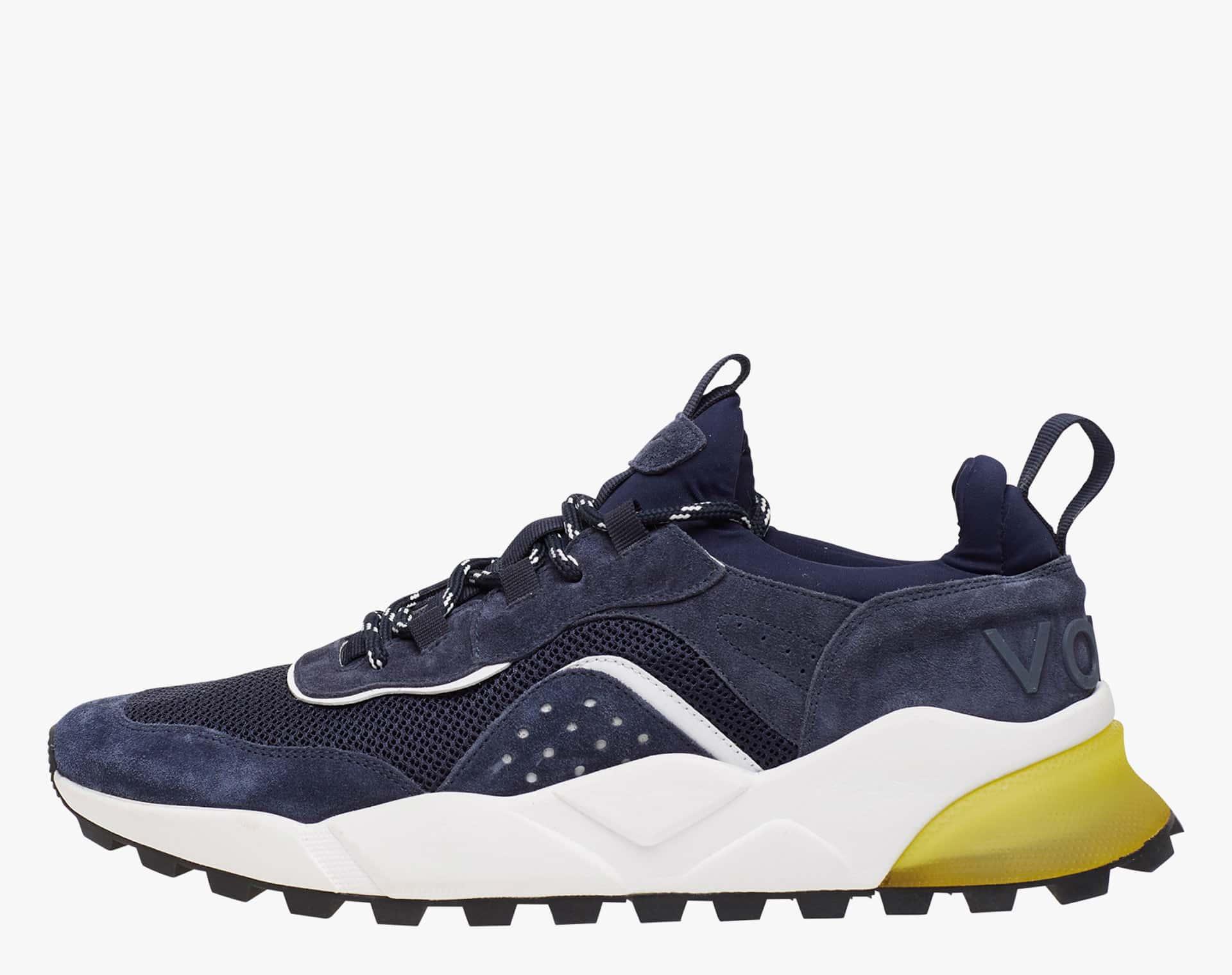 Sneaker in suede e tessuto tecnico Blu-CLUB04