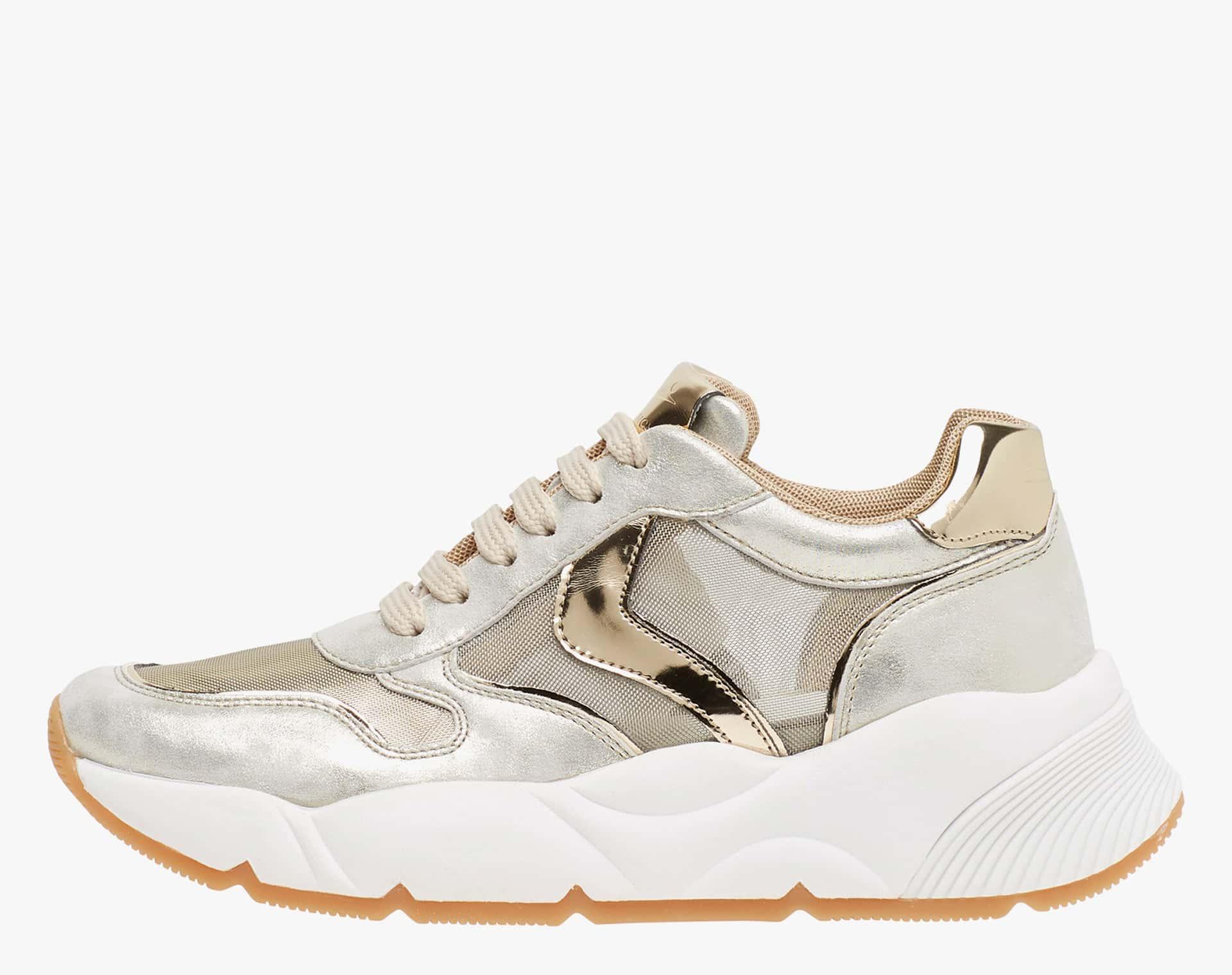 SHEEL MESH - Sneaker in pelle laminata - Platino