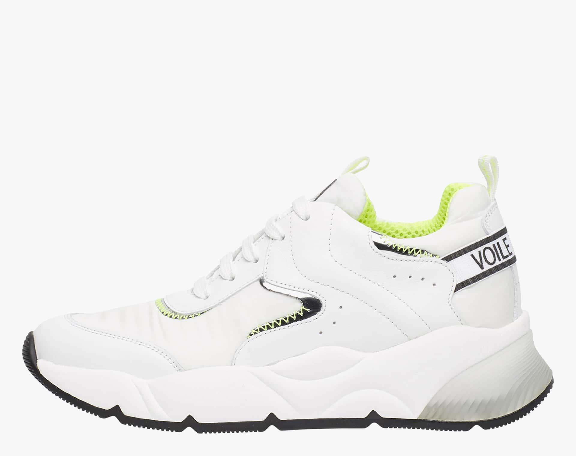 JENNIE - Sneaker in vitello e tessuto tecnico - Bianco/Giallo Fluo