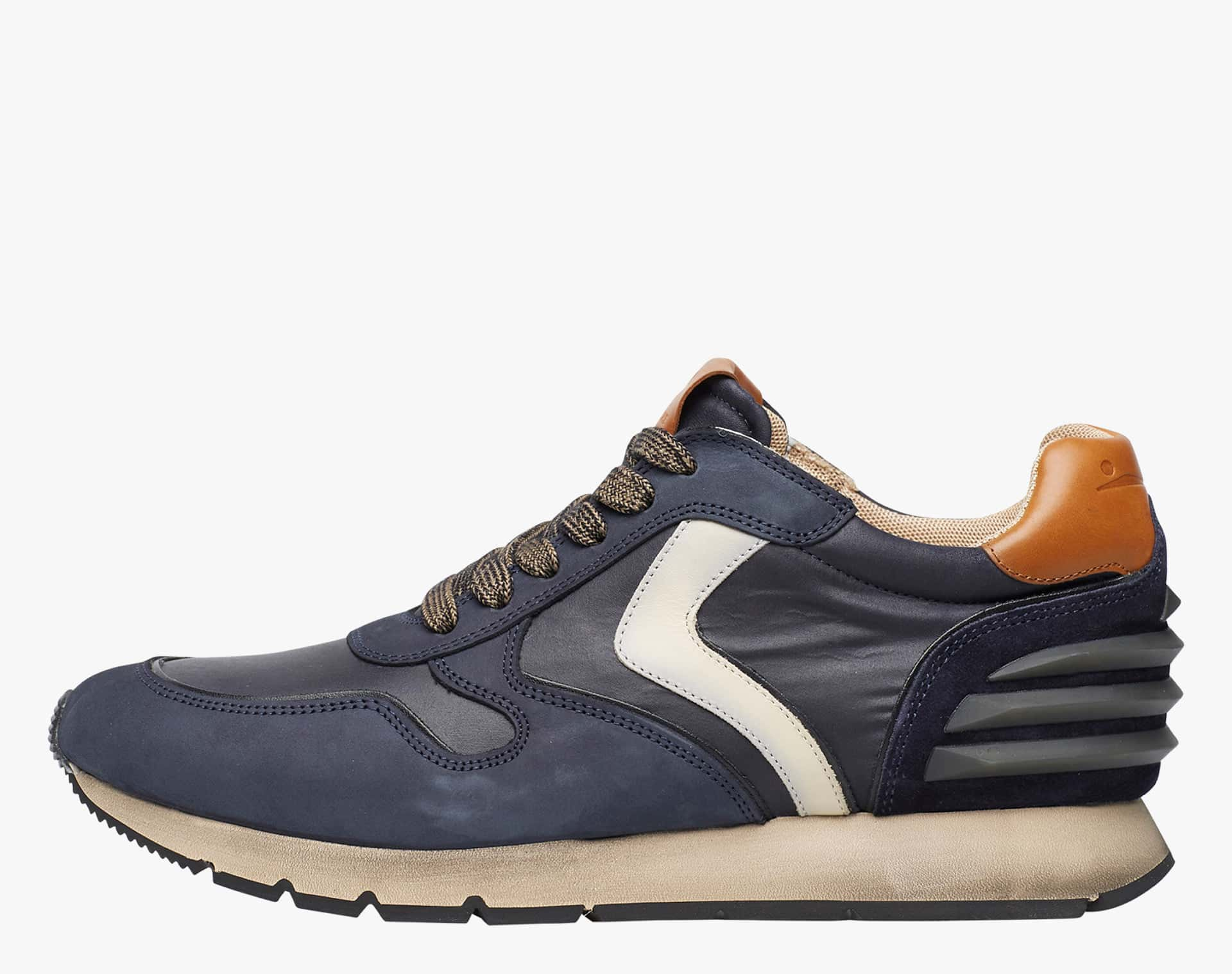 LIAM POWER - Sneaker in nabuk e nylon tecnico - Navy/Latte