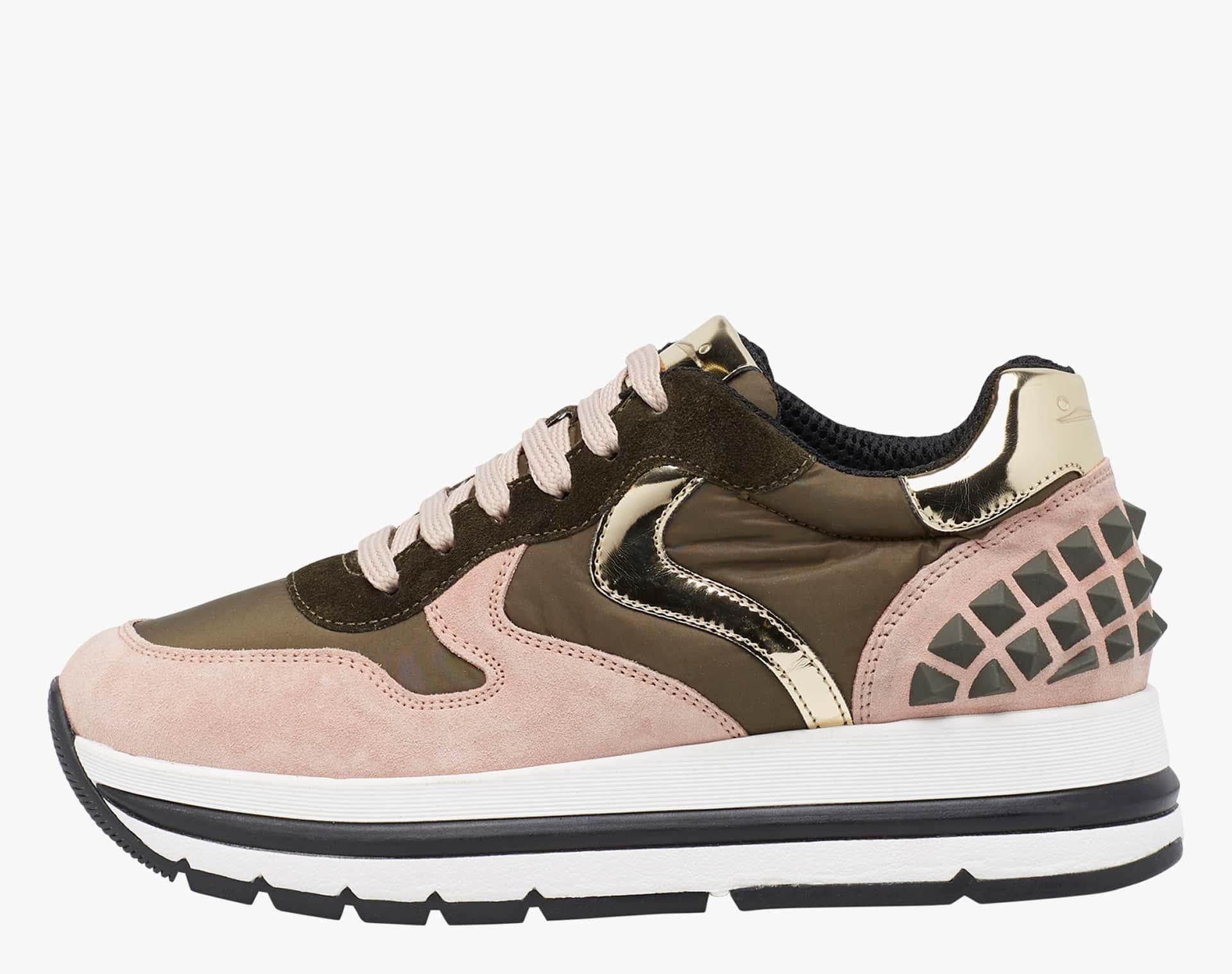 MARAN STUDS - Sneaker in suede con stud - Rosa/Militare