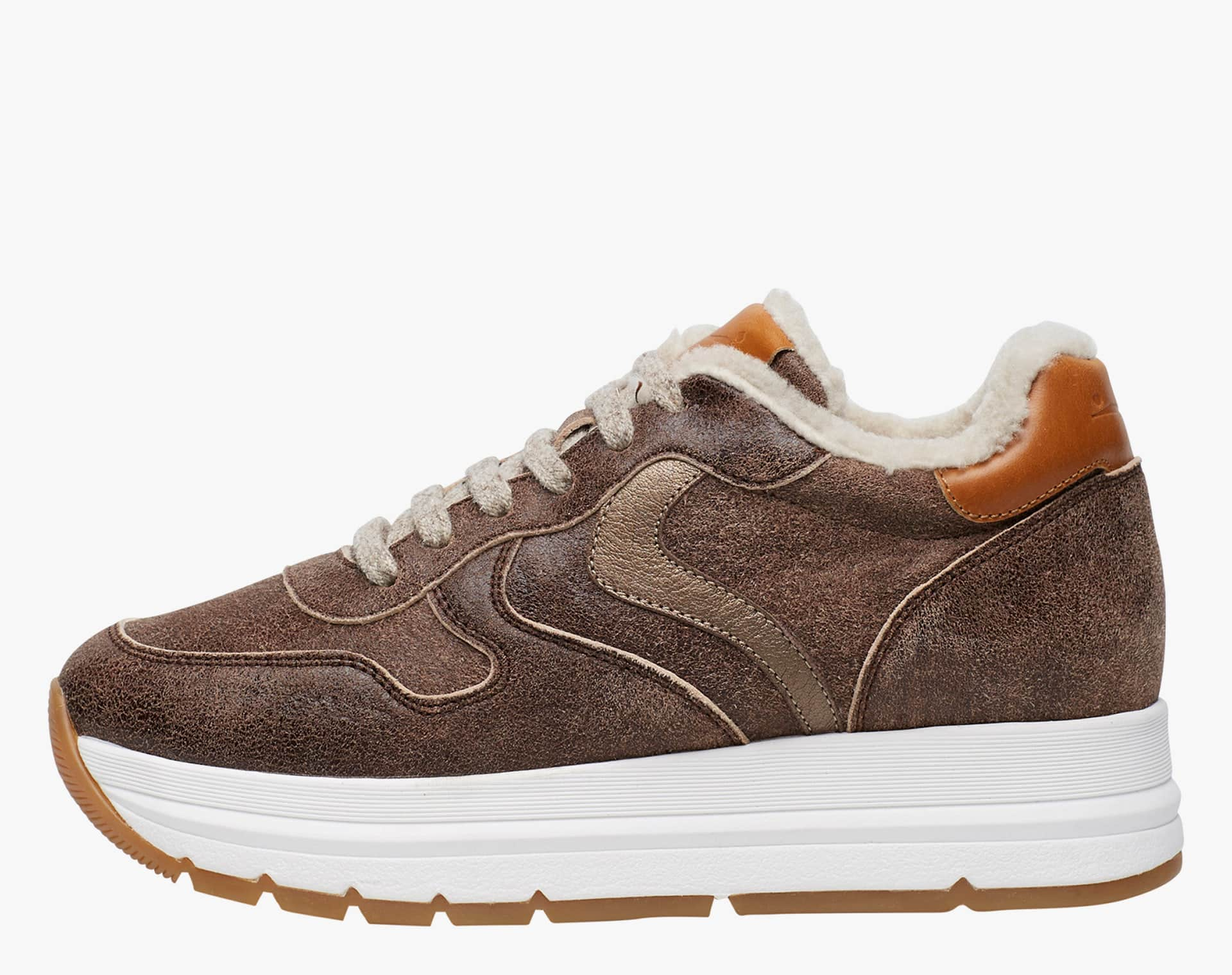 MARAN FUR - Sneaker in pelle vintage  - Topo/Bruciato