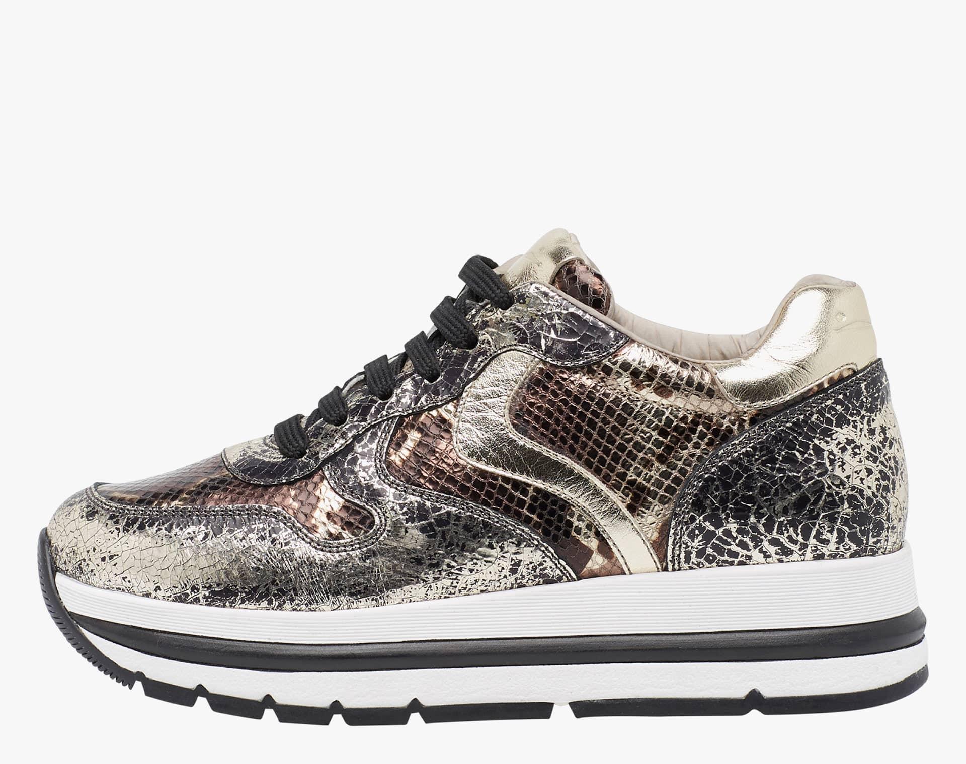 MARAN - Sneaker con pelle craquel� - Platino/Beige