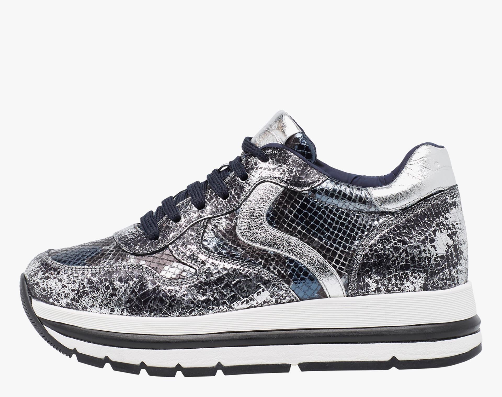 MARAN - Sneaker con pelle craquel� - Argento/nero