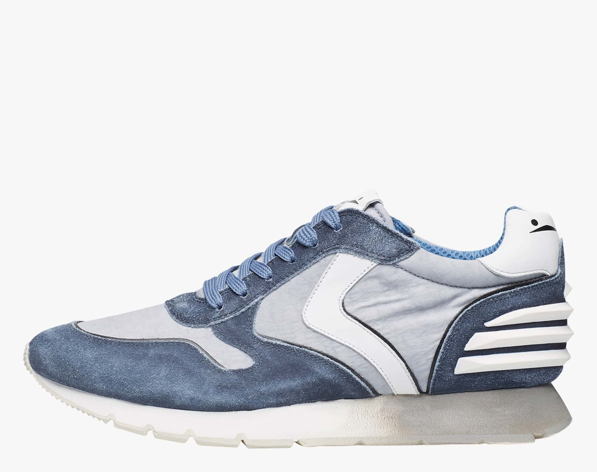 Sneaker in suede vintage e canvas délavé Blu-LIAM POWER