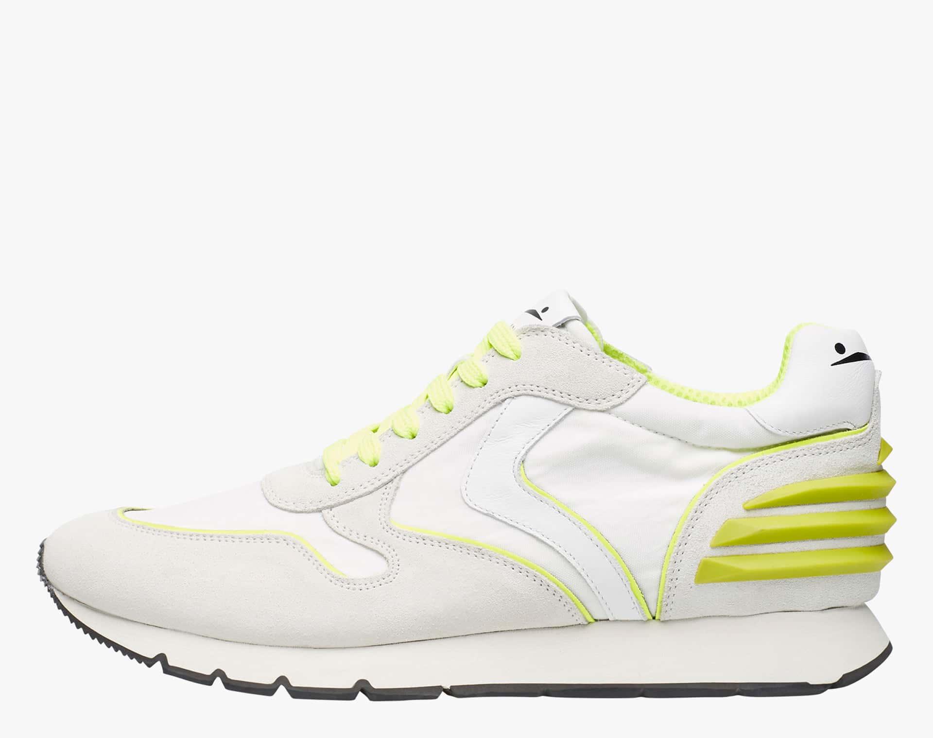 Sneaker in suede vintage e nylon tecnico Bianco-LIAM POWER