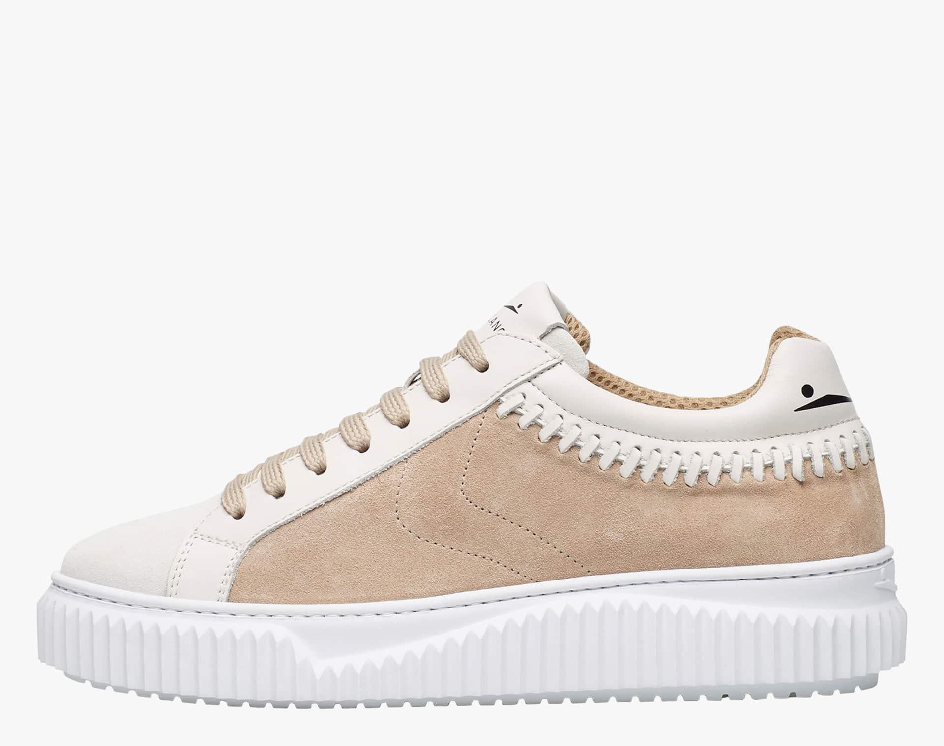 Sneaker in suede con infilature Bianco-LIPARI THREAD