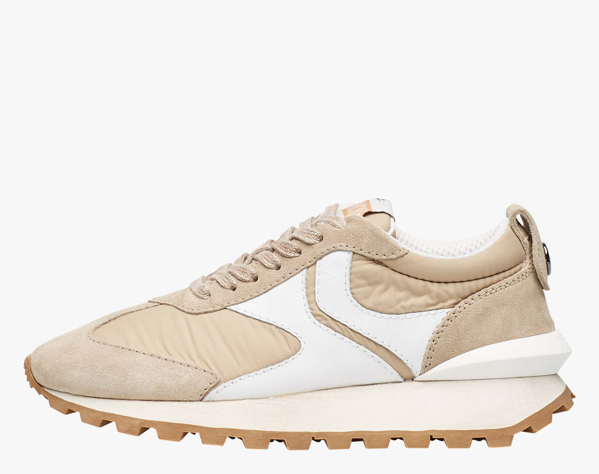 Sneaker in tessuto tecnico, suede e pelle Beige-QWARK WOMAN