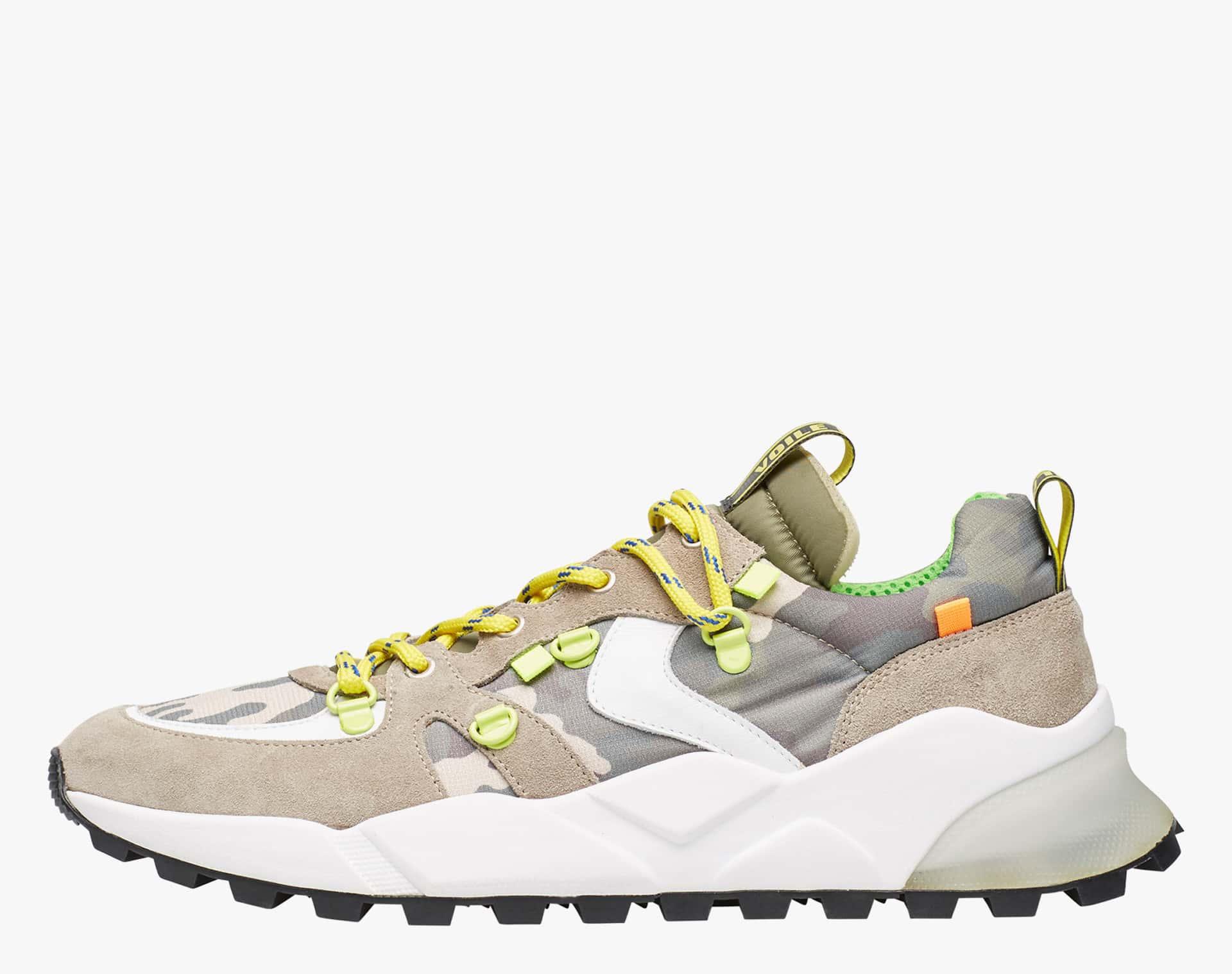 Sneaker in tessuto tecnico e suede con occhielli Grigio-CLUB10