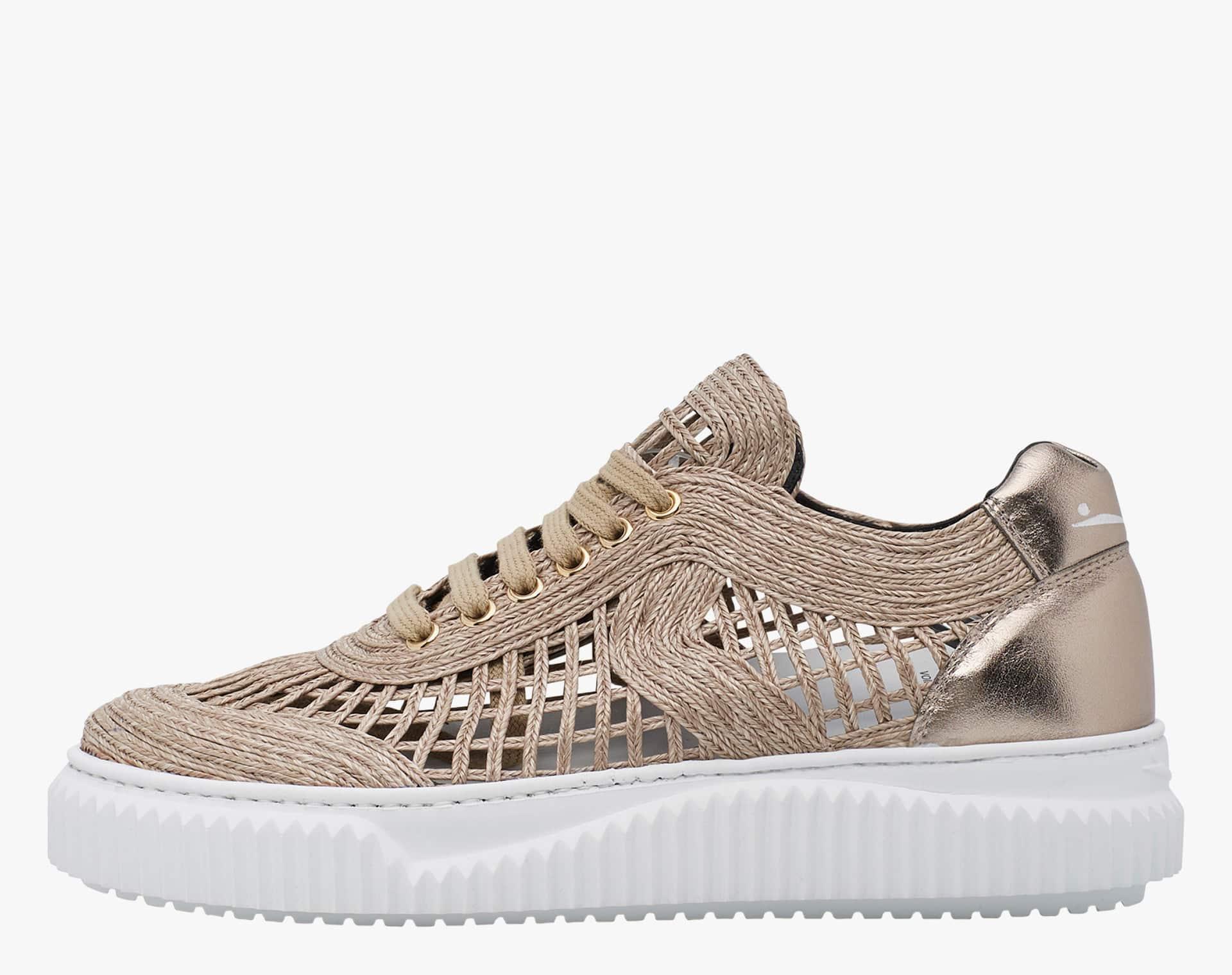 Sneaker in rafia con dettagli laminati Beige-MAIORCA BIS