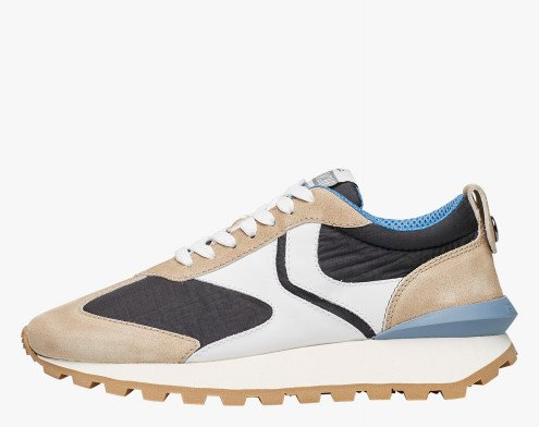 QWARK MAN - Sneaker in tessuto tecnico, suede e pelle - Beige