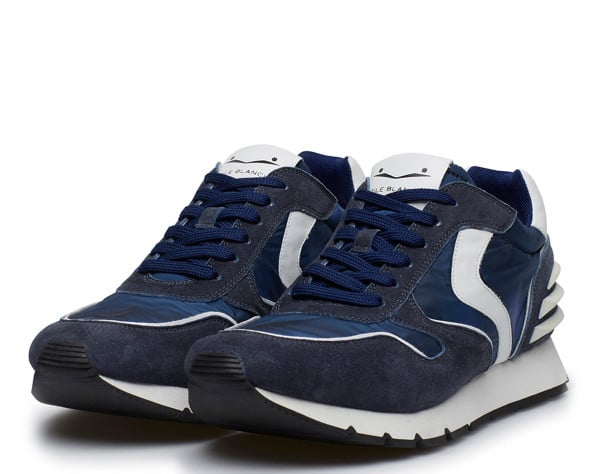 LIAM POWER - Leather and nylon sneakers - Blue