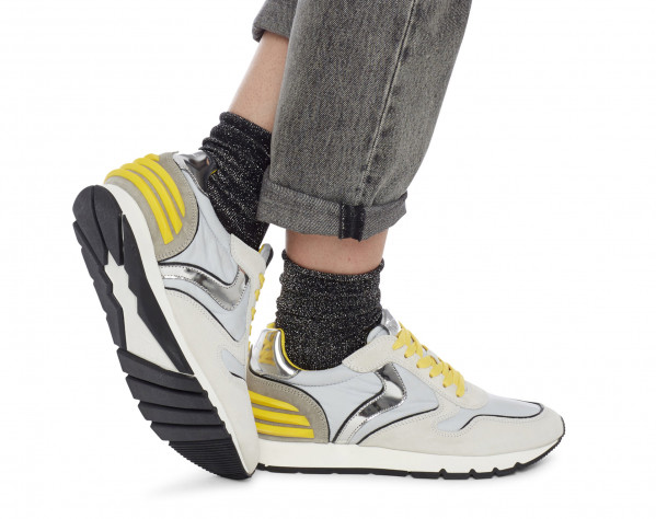 JULIA POWER - Leather and nylon sneakers - Grey/Yellow
