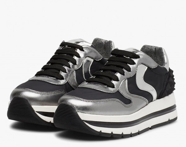 MARAN STUDS - Sneakers in leather and nylon - Silver