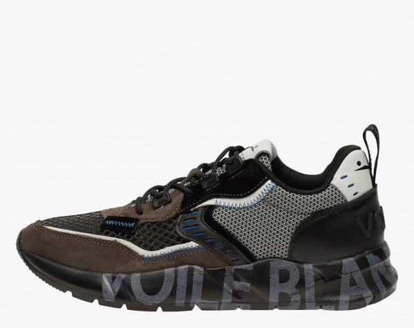 CLUB01 - Sneakers in leather and mesh - Grey-Black