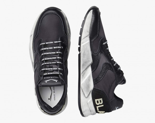 ARPOLH - Dirty-look leather and nylon sneakers - Black