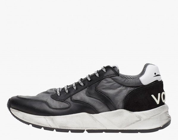 ARPOLH - Dirty effect leather and nylon fabric sneakers - Black/Charcoal grey