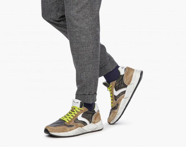 ARPOLH EASY - Calfskin and bleached nylon sneakers - Olive Green/White