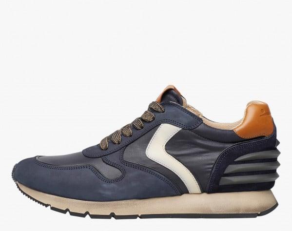 LIAM POWER - Sneaker in nabuk and technical nylon - Navy/Milk