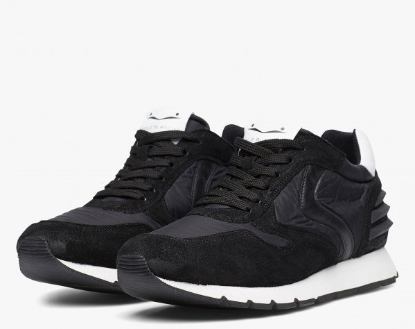 LIAM POWER - Suede and technical nylon sneaker - Black