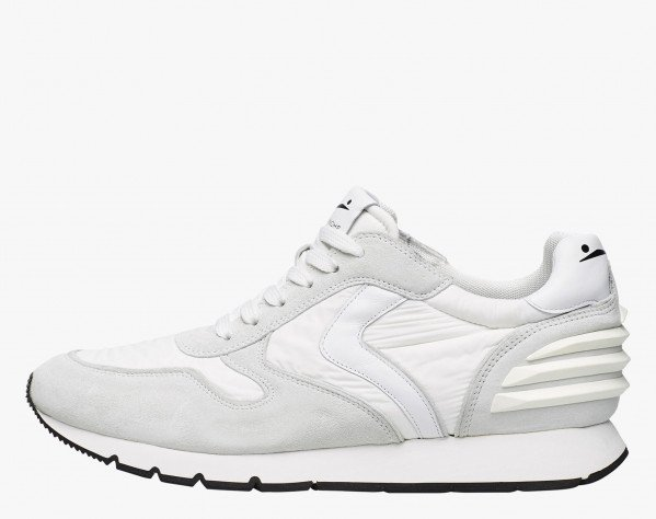 LIAM POWER - Sneaker in suede and technical fabric - White
