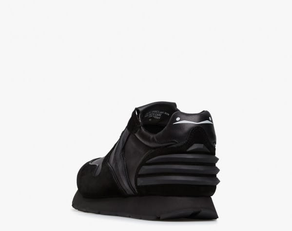 LIAM POWER - Suede and technical nylon sneakers - Black