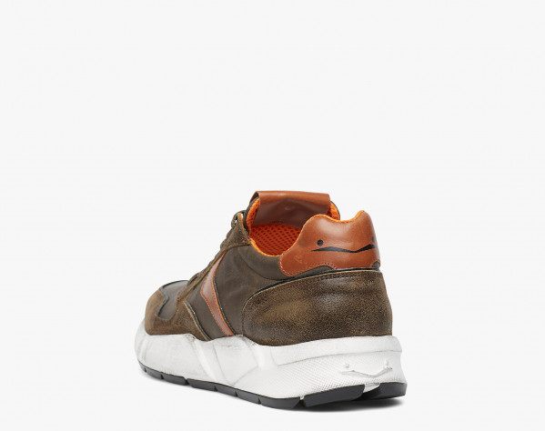 ARPOLH EASY - Leather and water-repellent technical fabric sneakers - Army green