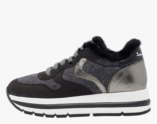 MARAN FUR - Shearling lined sneaker - Black/Grey