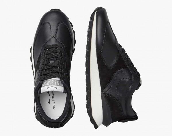 QWARK WOMAN - Heel stabiliser-adorned technical fabric sneakers - Black